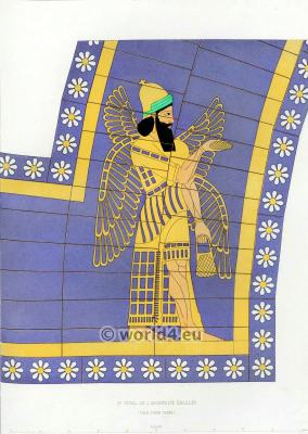 Assyrian Nineveh History. Second detail of glazed archivolte. Mesopotamia Winged goddes.