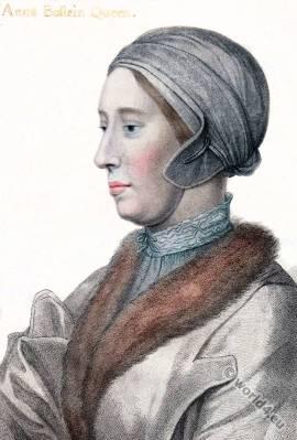 Anne Boleyn. Queen of England. Hans Holbein. Tudor costume. Renaissance fashion.