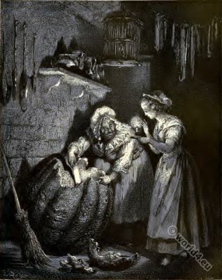 Fairy Tales. Cinderella and the Fairy Godmother. Gustav Dore.