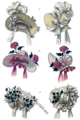 Headdresses parisien. Bonnets, capotes. Romantic era hairstyle. Biedermeier fashion.