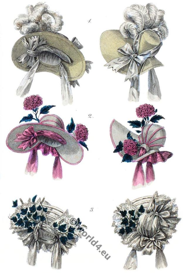 Headdresses, Bonnets, capotes, 1830. Romantic fashion period.