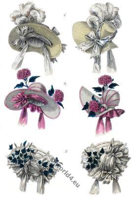 Bonnet de blonde. bonnets, head dresses, Romantic, hats, Biedermeier,