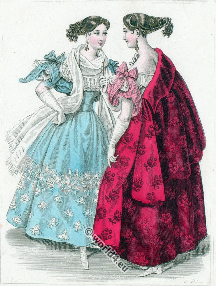 fashion history, Romantic,Crepe,  Gauze, dresses, Bonnets, Biedermeier,