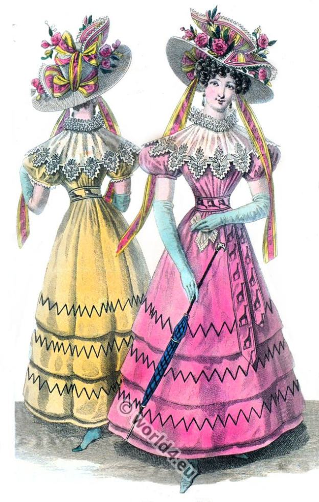 Regency costumes. Empire, Restoration fashion. Costumes parisien.