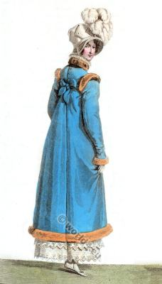 Regency costumes. Costume Parisien. Romanticism fashion, Restoration.