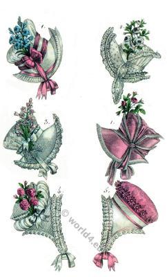 Regency hat fashion. Cornette. Costume Parisien. Romanticism fashion, Restoration.