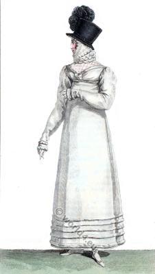 Regency merino dress. Black velvet hat. Empire fashion. Restoration era.