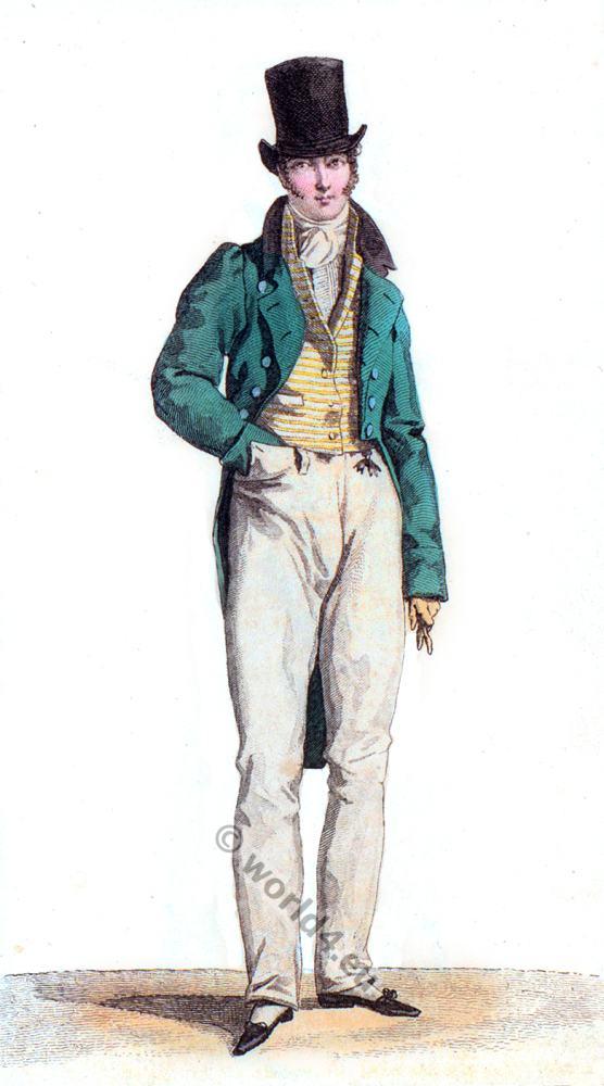 Regency, Costume Parisien, Romanticism, fashion, cylinder, hat,