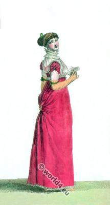 Turkish Chiffon Dress. France Empire costumes. Regency era fashion.