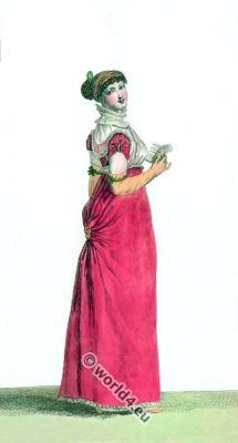Turkish Chiffon Dress. France Empire costumes. Regency era fashion.
