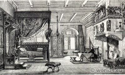 13th century castle bedroom. Middle ages furnishings, interior.