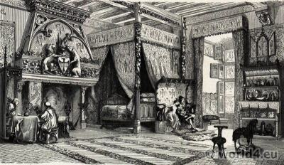 14th century castle bedroom. Middle ages furnishings, interior.