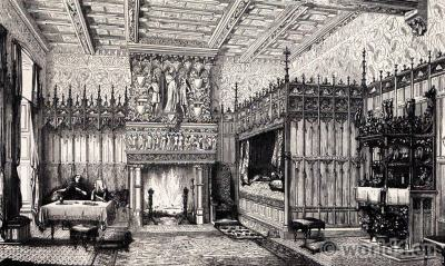 15th century castle bedroom. Middle ages furnishings. Renaissance interior.