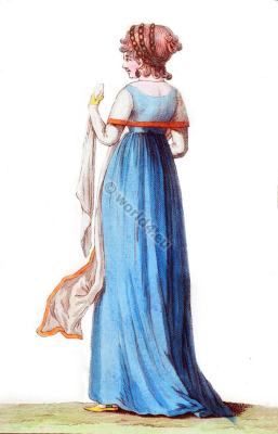 Linon shawl. Regency fashion. Directory costume.