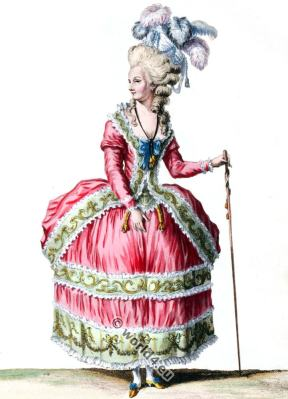 Robe à la Circassienne. Rococo fashion 18th century. Reign Louis XVI.