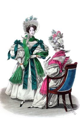 Romantic fashion era. 19th century biedermeier costumes