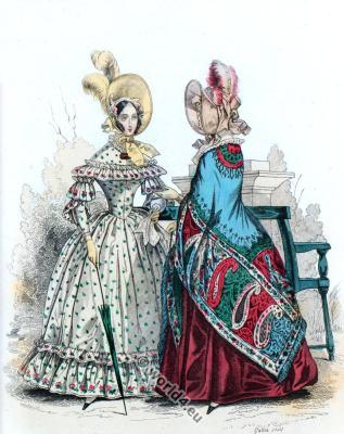 Bonnets. Romantic era costumes. Biedermeier fashion. Victorian costume.