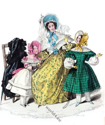 Pelerine. Romantic era costumes. Romanticism fashion. 19th century biedermeier period.