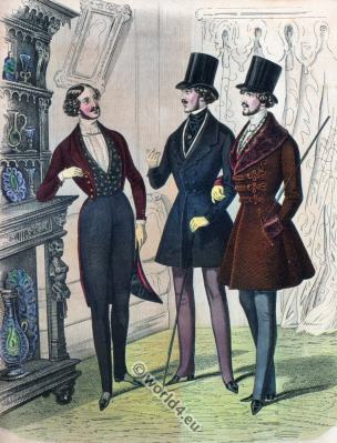 Men costumes. Romantic era costumes. Romanticism fashion. 19th century biedermeier period.