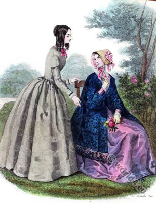 Maison Gagelin. Romantic era costumes. Biedermeier mode. Restoration fashion