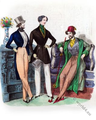 Romantic era costumes. Mens leisure suit. French Restoration fashion.