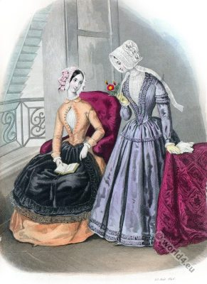 Romantic era costumes. Crinolines, Lingerie, Corsets, Hats.