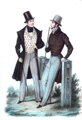 Overcoat with velvet collar. Romantic fashion era. Redingote à collet de Velours