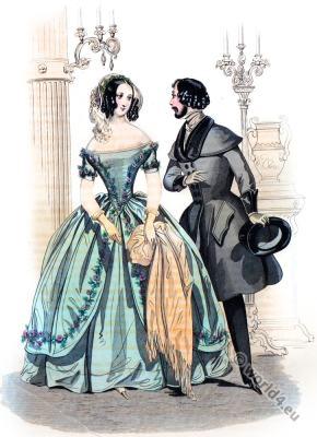 Crepe Dress. Romantic era costumes. Biedermeier mode. Restoration fashion