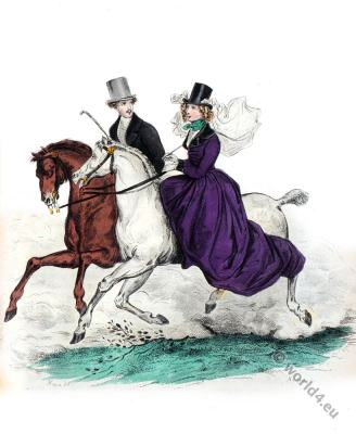 Amazon riding. Romantic era costumes. Biedermeier mode. Restoration fashion