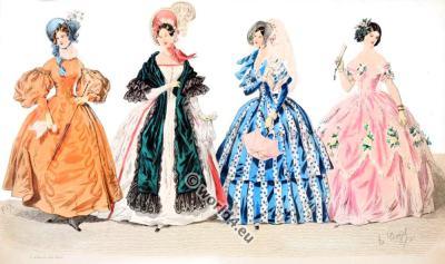 Romantic fashion in the Reign of Philippe. Romantic era costumes, German Biedermeier.