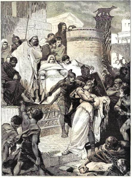 Lays,ancient Rome,Death,Virginia,Thomas Babington Macaulay,illustration,costume