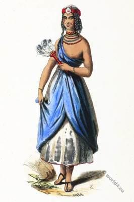 Bornu empire. Sudan Africa. Girl from Kano. Historical clothing.