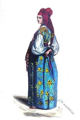 Arabia, Algeria. Jewish maid of Algiers. Historical clothing.