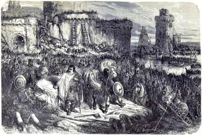 Carolingian king Charles III. 9th century clothing. Viking Battle.