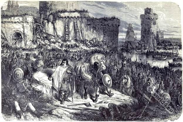 Carolingian king Charles III. 9th century clothing