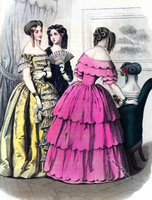 Mad. Debaizieux. Crinoline costumes. Romantic era fashion. La Mode. Paul Gavarni.
