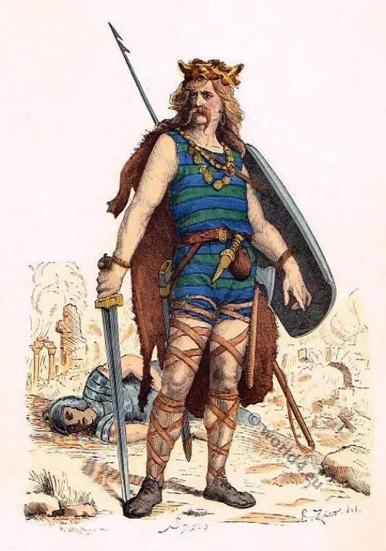 Frankish Gaul warrior costume 5th century