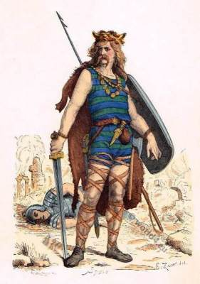 frankish warrior clothing, 5th century costume, Merovingian, Gaul