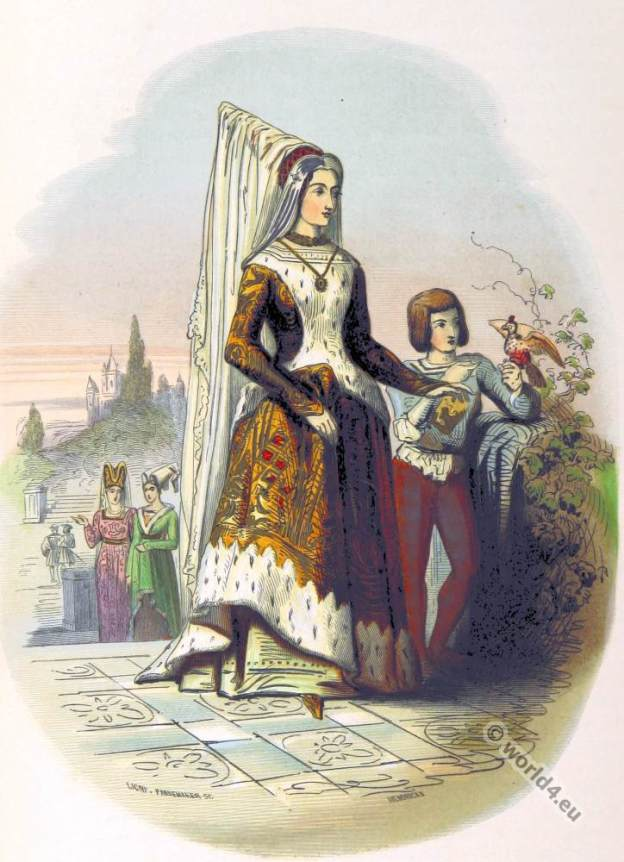 Mary of Burgundy, Duchess of Burgundy. Middle Ages clothing. Burgundy gothic costume
