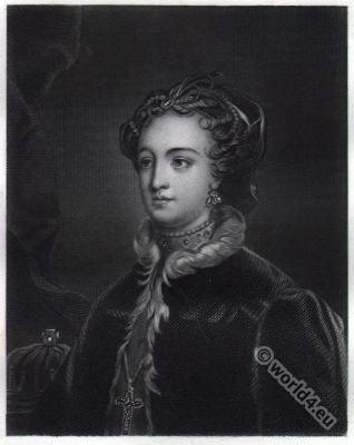 Mary Stuart. Queen of Scotland. Renaissance costume