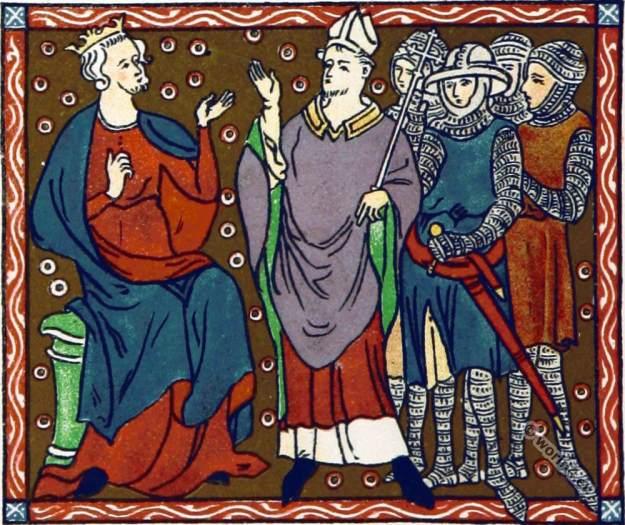 Plantagenet king Henry II. Thomas Becket. England court life. Middle ages clothing.