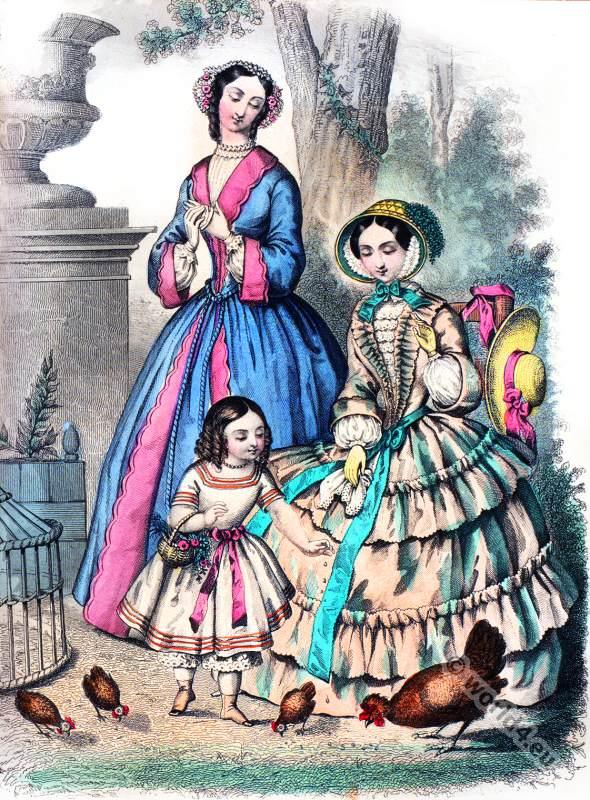 Crinoline Costumes. La Mode. Romantic era costumes. Biedermeier fashion.