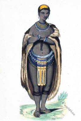 South Africa. A female from Namibia. Historical clothing.