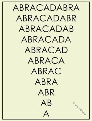 Abracadabra as protective spell. Magic word.