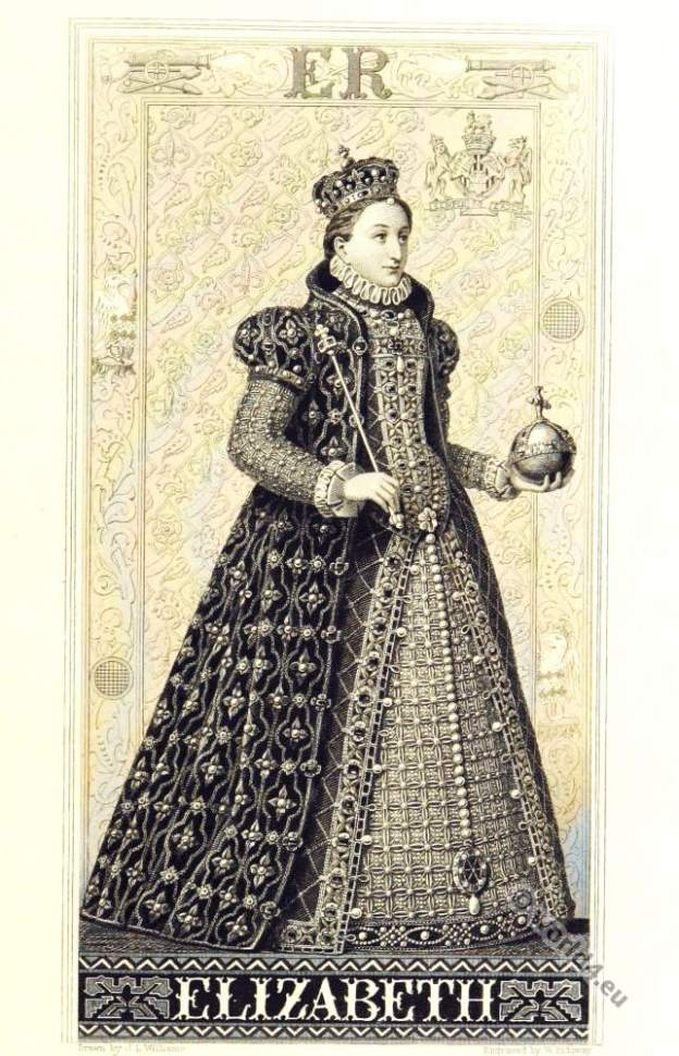 Elisabeth I Queen of England. Queen Bess. Tudor clothing 16th century