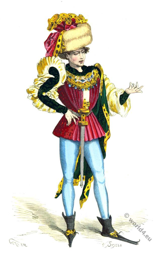 fashion history, Middle ages, costume, Burgundy,
