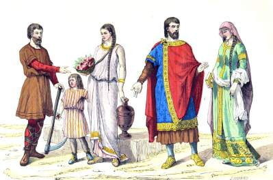 Roman gauls costumes.- Noble family 5th century. Celtic, gaul, merovingian history