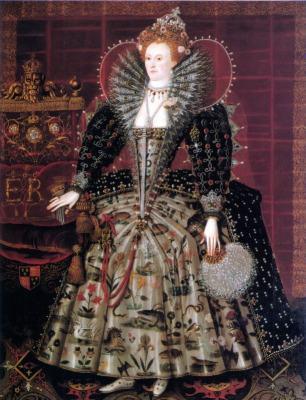 Queen Elizabeth I, England. Tudor era. 16th century costumes,Hardwick Hall