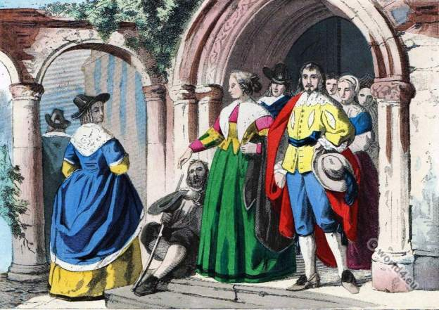 Baroque era fashion. England commonality dresses. Charles I.