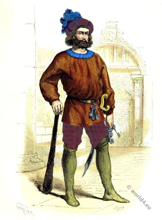 French, Jailor,middle ages,medieval,costume,dress,history,15th century,fashion